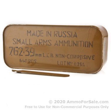 640 Rounds of 122gr FMJ 7.62x39mm Ammo by Tula in Metal Container