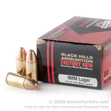 20 Rounds of 115gr FMJ 9mm Ammo by Black Hills Ammunition
