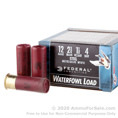 """25 Rounds of 2-3/4"""" 1 1/8 ounce #4 shot 12ga Ammo by Federal Speed-Shok Waterfowl"""