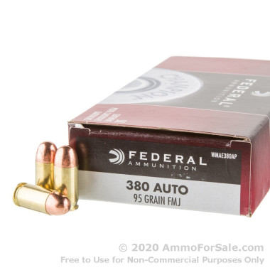 50 Rounds of 95gr FMJ .380 ACP Ammo by Federal