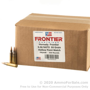 500 Rounds of 55gr HP Match 5.56x45 Ammo by Hornady