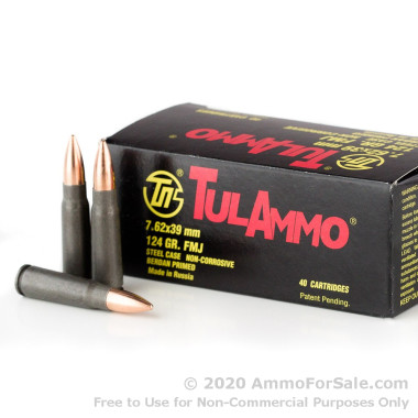 40 Rounds of 124gr FMJ 7.62x39mm Ammo by Tula