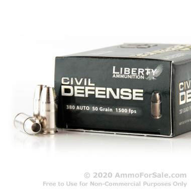 20 Rounds of 50gr SCHP .380 ACP Ammo by Liberty Civil Defense Ammunition