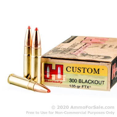 20 Rounds of 135gr FTX .300 AAC Blackout Ammo by Hornady