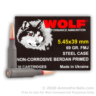 30 Rounds of 69gr FMJ 5.45x39mm Ammo by Wolf