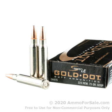 20 Rounds of 75gr SP 223 Rem Ammo by Speer