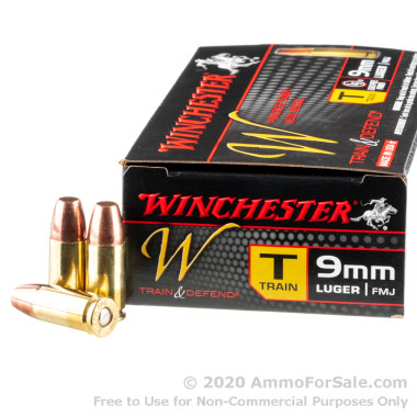 500  Rounds of 147gr FMJ 9mm Ammo by Winchester