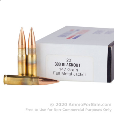 20 Rounds of 147gr FMJ .300 AAC Blackout Ammo by Armscor