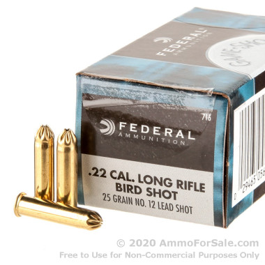 50 Rounds of 25gr #12 shot .22 LR Ammo by Federal