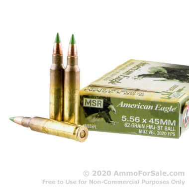 500 Rounds of 62gr FMJBT 5.56x45 Ammo by Federal