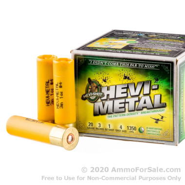 25 Rounds of 1 ounce #4 shot 20ga Ammo by Hevi-Shot