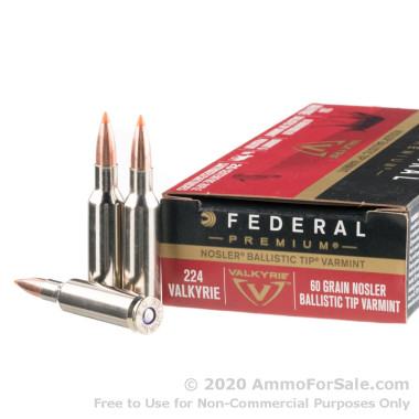 20 Rounds of 60gr Nosler Ballistic Tip .224 Valk Ammo by Federal