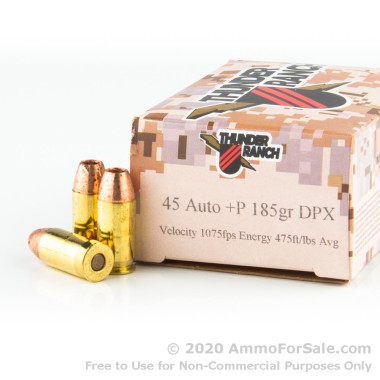 20 Rounds of 185gr DPX .45 ACP + P Ammo by Corbon Thunder Ranch
