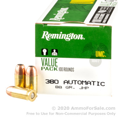 100 Rounds of 88gr JHP .380 ACP Ammo by Remington