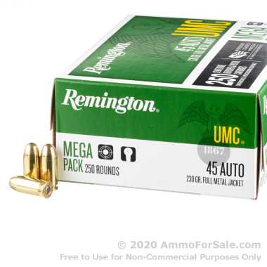 250 Rounds of 230gr MC .45 ACP Ammo by Remington