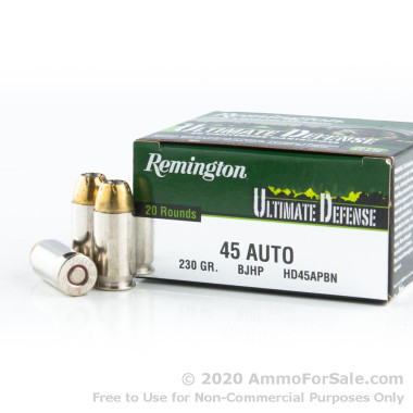20 Rounds of 230gr JHP .45 ACP Ammo by Remington
