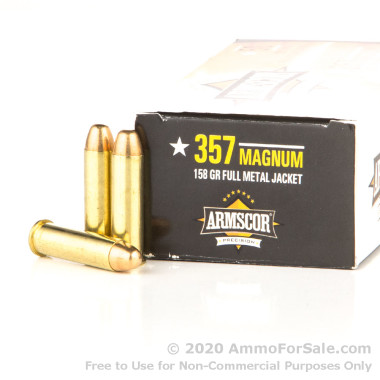 50 Rounds of 158gr FMJ .357 Mag Ammo by Armscor