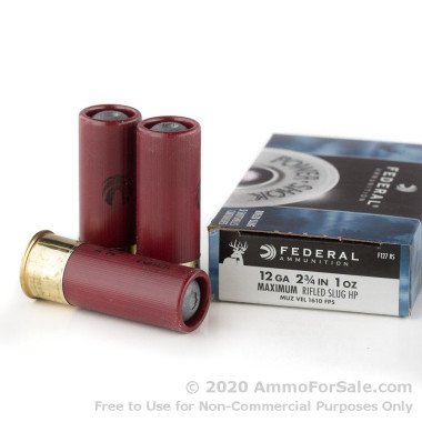 5 Rounds of 1 ounce Rifled Slug 12ga Ammo by Federal