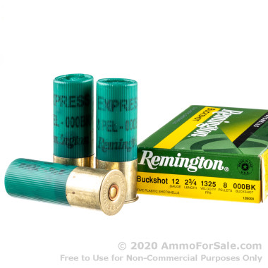 5 Rounds of  000 Buck 12ga Ammo by Remington