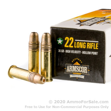 50 Rounds of 36gr HP .22 LR Ammo by Armscor