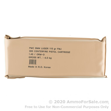 900 Rounds of 115gr FMJ 9mm Ammo by PMC