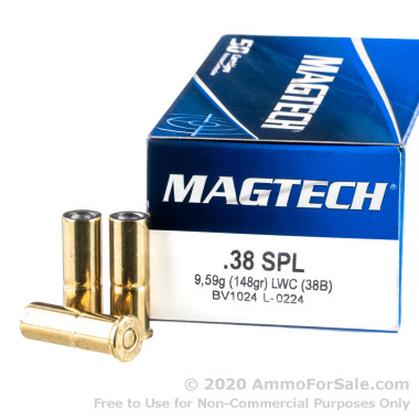 50 Rounds of 148gr Lead Wadcutter .38 Spl Ammo by Magtech