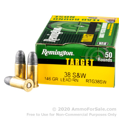 50 Rounds of 146gr LRN .38 S&W Ammo by Remington