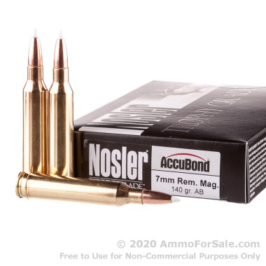 20 Rounds of 140gr AccuBond 7mm Rem Mag Ammo by Nosler Ammunition