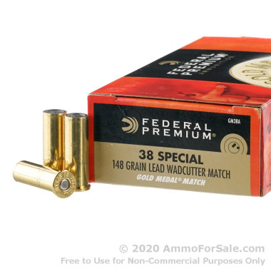 1000 Rounds of 148gr Lead Wadcutter .38 Spl Ammo by Federal