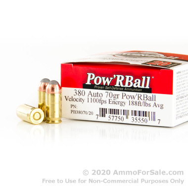380 Auto 70 gr Corbon Pow'RBall Ammo For Sale!