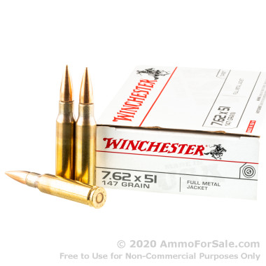 200 Rounds of 147gr FMJ 7.62x51mm Ammo by Winchester