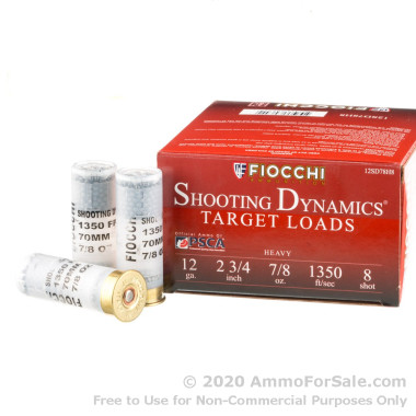 25 Rounds of 7/8 ounce #8 shot 12ga Ammo by Fiocchi