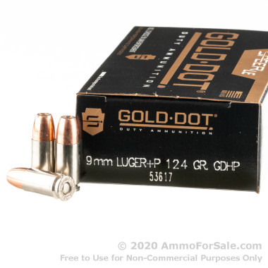 1000 Rounds of +P 124gr JHP 9mm Ammo by Speer Gold Dot
