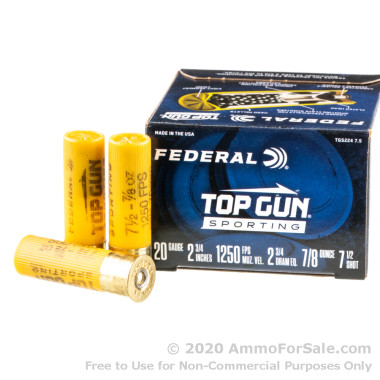 250 Rounds of 7/8 ounce #7.5 shot 12ga Ammo by Federal