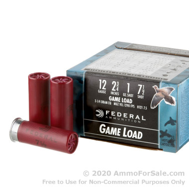 "25 Rounds of 2 3/4"" 1 ounce #7 1/2 shot 12ga Ammo by Federal Game-Shok"