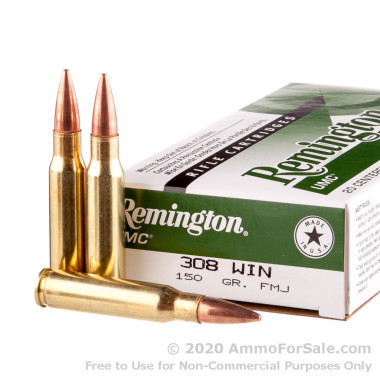 20 Rounds of 150gr MC .308 Win Ammo by Remington UMC