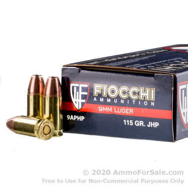 50 Rounds of 115gr JHP 9mm Ammo by Fiocchi