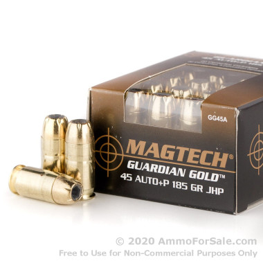 20 Rounds of 185gr JHP .45 ACP +P Ammo by Magtech