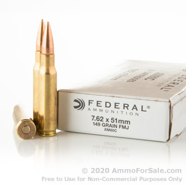 20 Rounds of 149gr FMJ 7.62x51mm Ammo by Federal