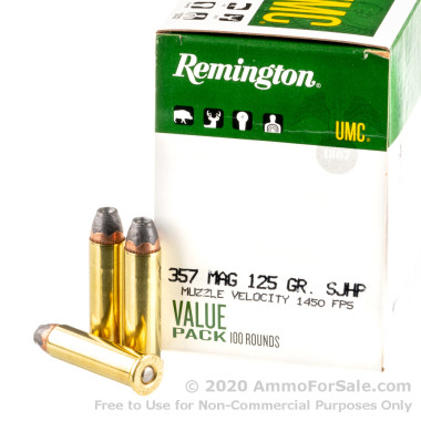100 Rounds of 125gr SJHP .357 Mag Ammo by Remington