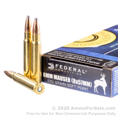 20 Rounds of 170gr SP 8 mm Mauser Ammo by Federal