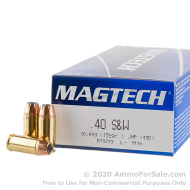 50 Rounds of 155gr JHP .40 S&W Ammo by Magtech