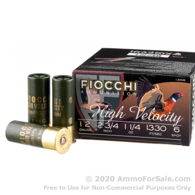 250 Rounds of 1 1/4 ounce #6 shot 12ga High Velocity Ammo by Fiocchi