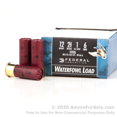 25 Rounds of 1 ounce #6 Shot (Steel) 12ga Ammo by Federal