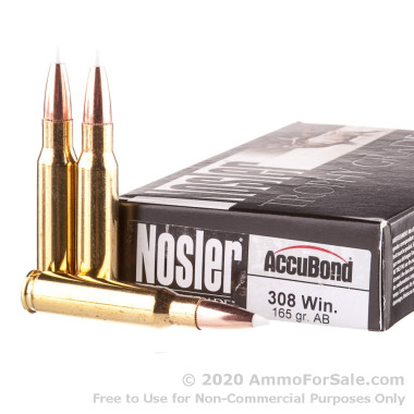 20 Rounds of 165gr AccuBond .308 Win Ammo by Nosler Ammunition