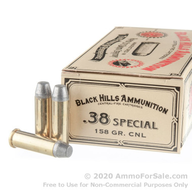 50 Rounds of 158gr CNL .38 Spl Ammo by Black Hills Ammunition