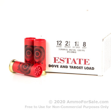 25 Rounds of 1 1/8 ounce #8 shot 12ga Ammo by Estate Cartridge