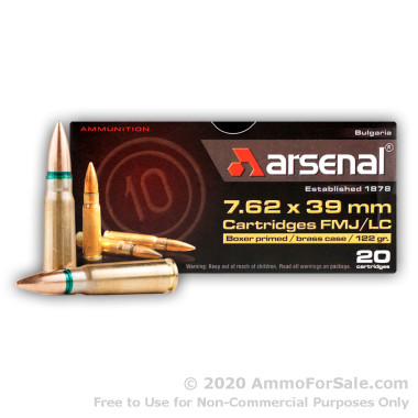 20 Rounds of 122gr FMJ 7.62x39mm Ammo by Arsenal
