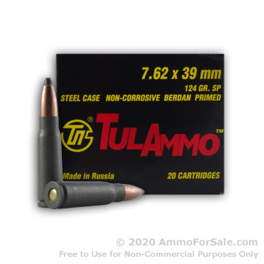 20 Rounds of 124gr SP 7.62x39mm Ammo by Tula