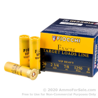 250 Rounds of 7/8 ounce #8 shot 20ga Ammo by Fiocchi